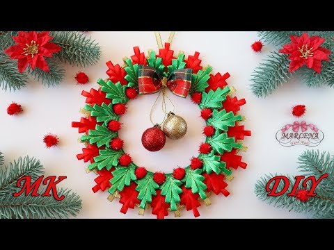 НОВОГОДНИЙ ❄ РОЖДЕСТВЕНСКИЙ ВЕНОК своими руками/Christmas ribbon wreath