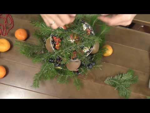 Новогодняя композиция - фруктовая экибана .