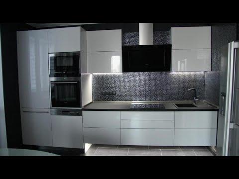 Подвесная кухня без ручек. Кухня мдф с подсветкой. С электроприводом SERVO-DRIVE Cерво Драйв Blum.