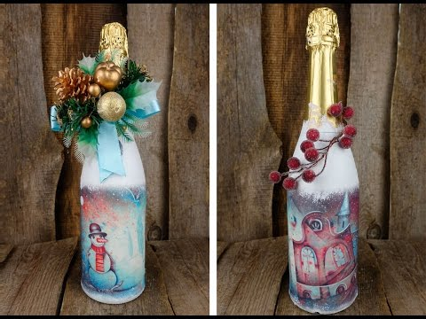 Новогодний подарок своими руками – декупаж бутылки шампанского. Мастер-классы на Подарки.ру