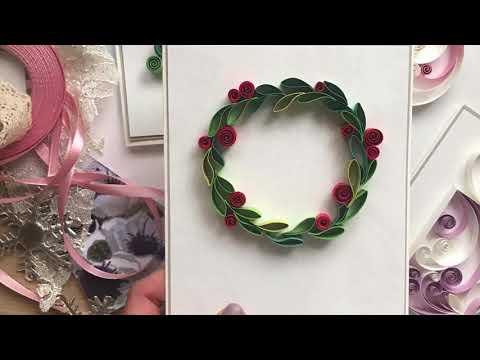 QllArt | Christmas card | Quilling wreath | Новогодняя открытка в технике квиллинг
