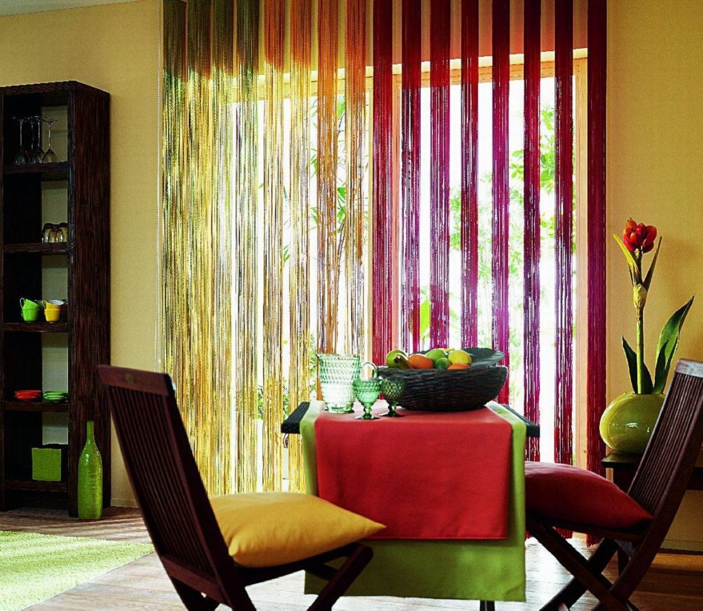 Кисейные разноцветные занавески