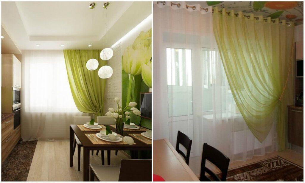Зеленые и салатовые шторы на кухне