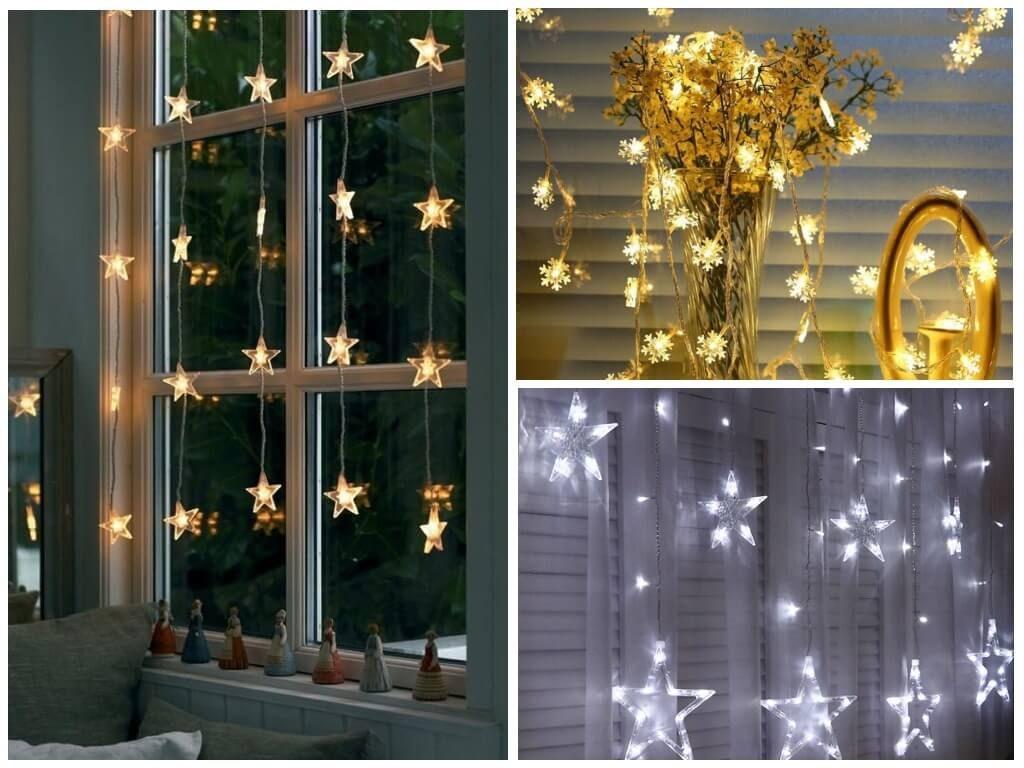 гирлянда-звезды на окне