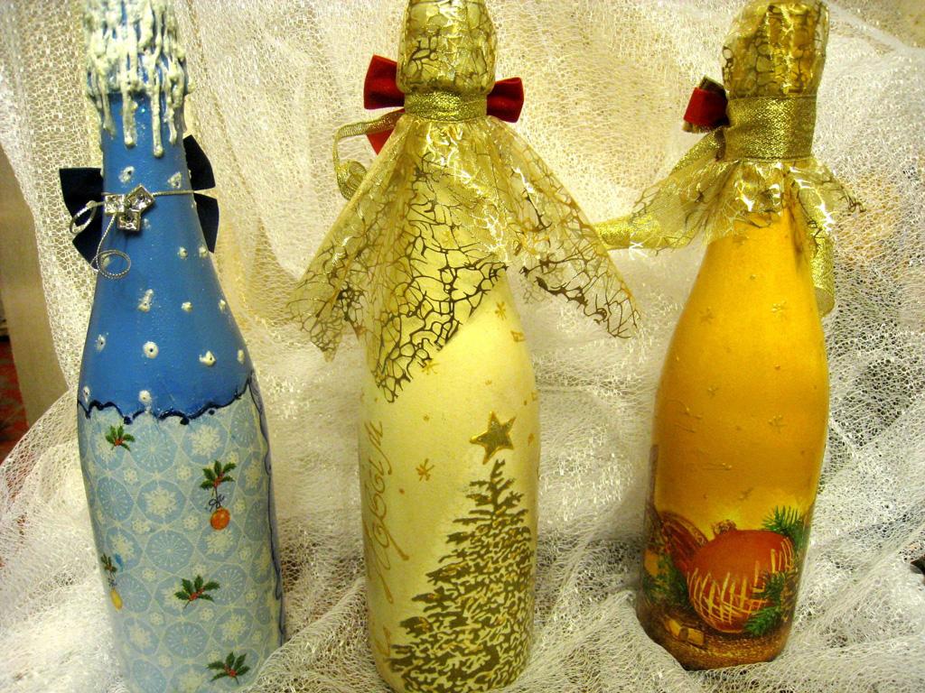 декупаж шампанского на новый год фото