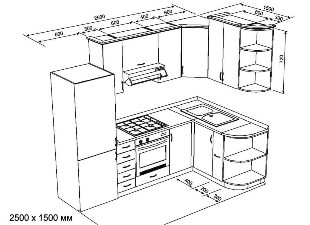 кухонный гарнитур схема