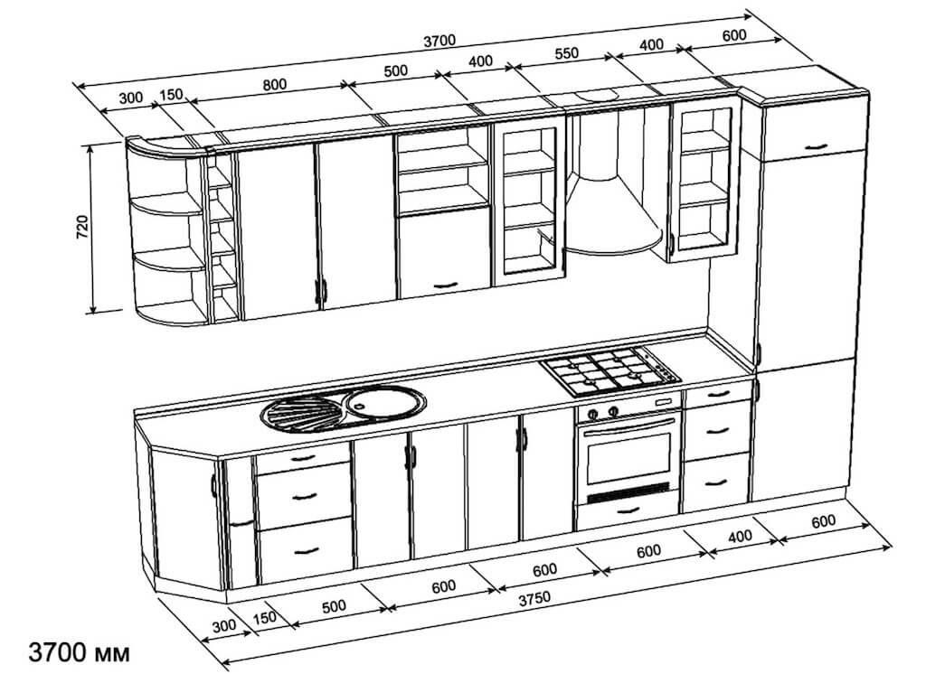схема стандартного кухонного гарнитура